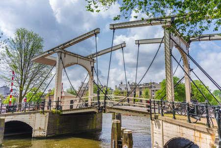 drawbridge: Closed drawbridge in Amsterdam, Netherlands.