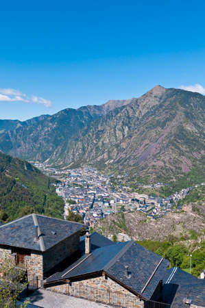 tourism in andorra: Aerial view of Andorra-La-Vella at Andorra Stock Photo