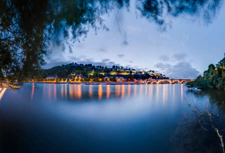 walloon: Jambes Bridge crossing the river Meuse as it passes through the city of Namur in the Wallonia Region, southern Belgium Stock Photo
