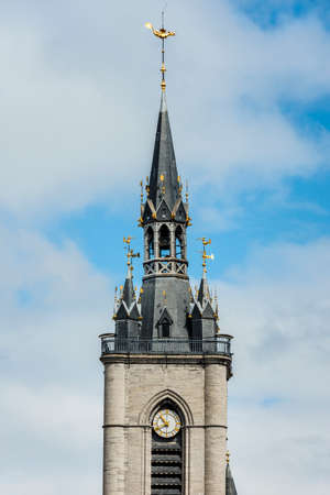 walloon: The belfry of Tournai, the oldest in Belgium Stock Photo