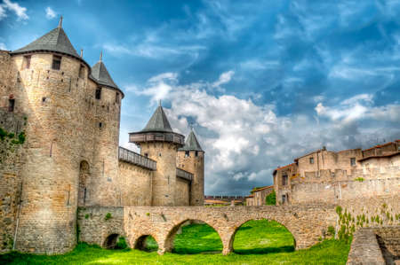 high dynamic range: Chateau Comtal bridge located at Carcassonne, France