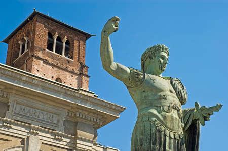 constantine: First Christian Roman emperor Constantine statue in front of Basilica di San Lorenzo di Milano. Stock Photo