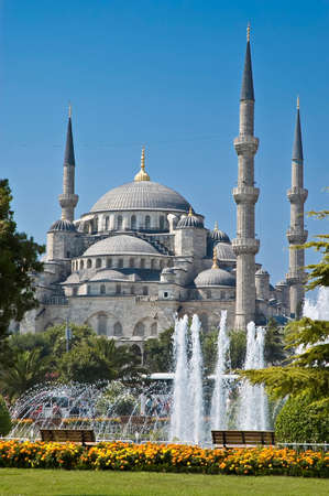 turkiye: Sultanahmet Mosque at Istanbul as seen from Sultanahmet Gardens Stock Photo