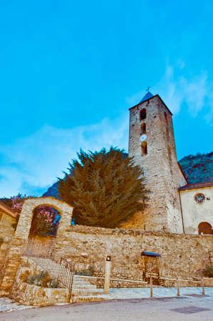 tourism in andorra: Sant Serni romanic church located at Canillo, Andorra Stock Photo