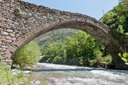tourism in andorra: Ancient romanic bridge at la Margineda, Andorra