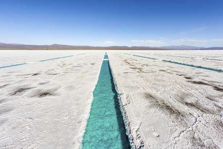 salt water: Salt water pool on the Salinas Grandes salt flats in Jujuy province, northern Argentina. Stock Photo