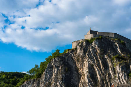 walloon: Fortified Citadel, first built in the 11th century to control the Meuse valley in Dinant, Belgium Stock Photo