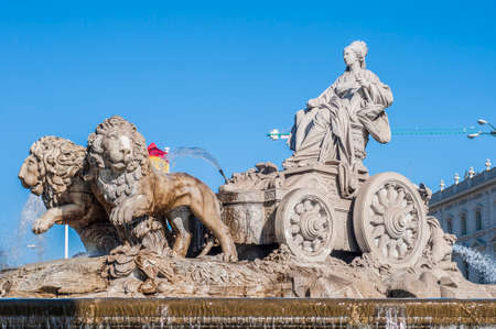 fertility goddess: The fountain of Cibeles, named after Cybele (or Ceres), Roman goddess of fertility, is seen as one of Madrid s most important symbols in Spain. Stock Photo