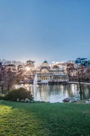 bosco: The Crystal Palace (Palacio de Cristal), a glass and metal structure built by Ricardo Velazquez Bosco in 1887 to exhibit flora and fauna from the Philippines on Buen Retiro Park in Madrid, Spain.