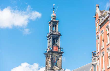 westerkerk: Westerkerk (Western church) next to Jordaan district, on the bank of the Prinsengracht canal in Amsterdam, Netherlands. Stock Photo