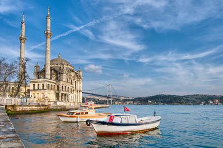 turkiye: Ortakoy Mosque on the Bosphorus shore at Istanbul