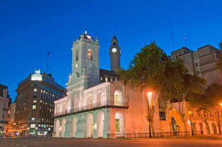 dominant color: Cabildo building facade at night as seen from Plaza de Mayo Stock Photo