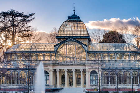 cristal: The Crystal Palace (Palacio de Cristal), a glass and metal structure built by Ricardo Velazquez Bosco in 1887 to exhibit flora and fauna from the Philippines on Buen Retiro Park in Madrid, Spain.
