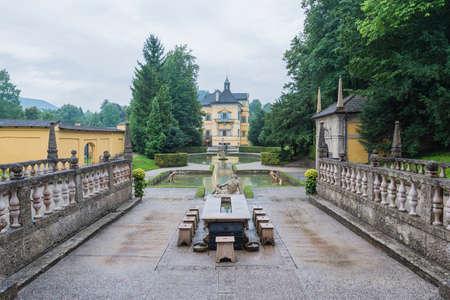 salzach: Hellbrunn Palace, an early Baroque villa of palatial size, near Morzg, a southern district of the city of Salzburg, Austria.