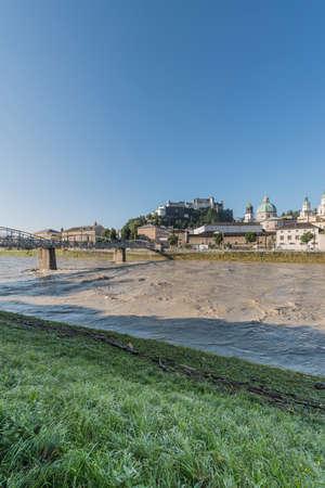 salzach: Mozart bridge (Mozartsteg) across Salzach river in Salzburg, Austria Stock Photo