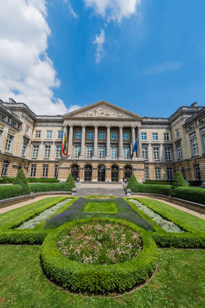 places of interest: Facade of the Federal Parliament of Belgium in Brussels.