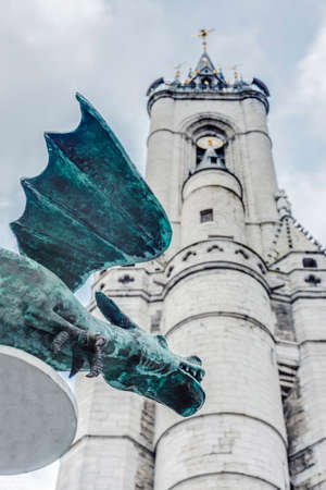wallonie: The oldest belfry in Belgium, a freestanding bell tower of medieval origin, 72 metres in height with a 256-step stairway in Tournai. Stock Photo