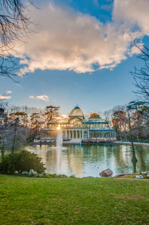 velazquez: The Crystal Palace (Palacio de Cristal), a glass and metal structure built by Ricardo Velazquez Bosco in 1887 to exhibit flora and fauna from the Philippines on Buen Retiro Park in Madrid, Spain.
