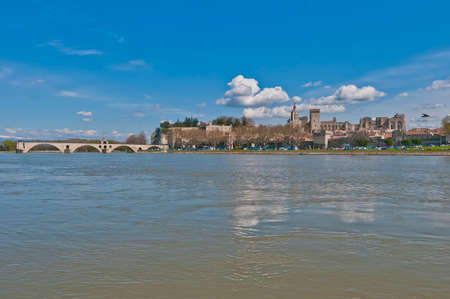 edifices: Avignon skyline as seen from the other shore of the Rhone River, France Editorial