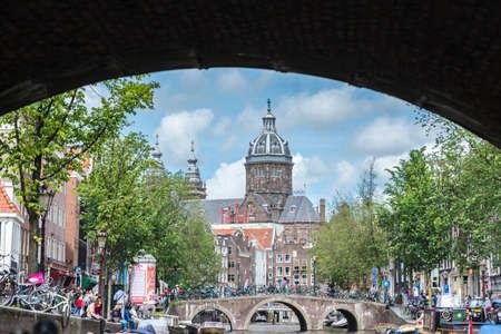 patron: AMSTERDAM, NETHERLANDS – JUNE 16, 2013: Church dedicated to Saint Nicholas, patron saint of Amsterdam in Netherlands.