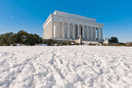 dominant color: The Lincoln Memorial exterior after a snow blizzard at the Mall in DC, USA