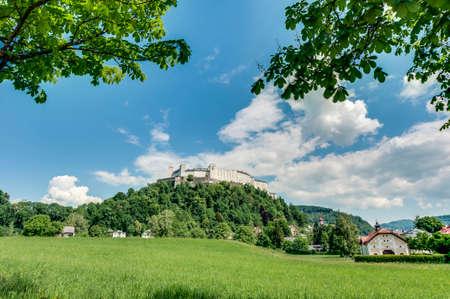 literally: Hohensalzburg Castle (Festung Hohensalzburg) literally High Salzburg Fortress at Salzburg, Austria Editorial