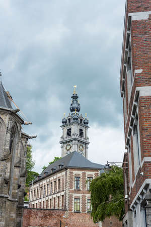 Belfry of Mons, one of Belfries of Belgium and France, a group of 56 historical buildings designated by UNESCO as World Heritage Site in the capital of the Wallonian province of Hainaut in Belgium.
