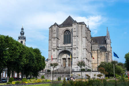 homogeneous: MONS, BELGIUM - JUNE 13, 2014: The Sainte-Waudru Collegiate Church is one of the most characteristic churches and most homogeneous of Brabantine Gothic architecture located in Mons, Belgium