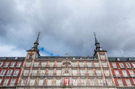 habsburg: The Plaza Mayor was built during the Habsburg period and is the central plaza in the city, surrounded by three-story residential buildings having 237 balconies facing this square in Madrid, Spain. Editorial
