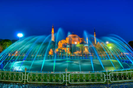 edifices: Hagia Sofia Mosque at Istanbul as seen from  Sultanahmet Park at night
