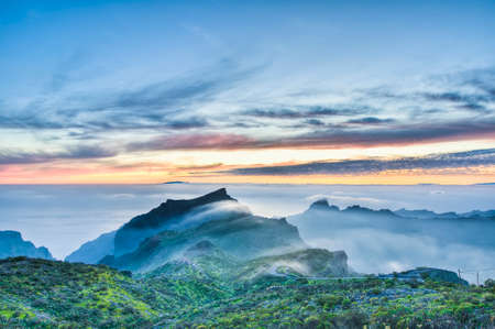 dominant color: Sunset from Cherfe panoramic lookout located at Tenerife Island.