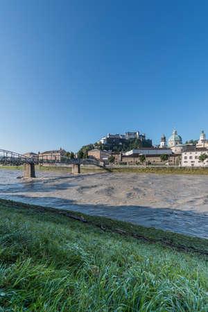 mozart: Mozart bridge (Mozartsteg) across Salzach river in Salzburg, Austria Stock Photo