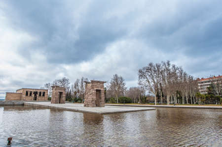 rebuilt: The Temple of Debod (Templo de Debod), an ancient Egyptian temple which was rebuilt in Madrid, Spain. Stock Photo
