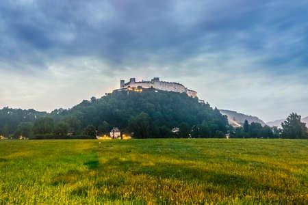 literally: Hohensalzburg Castle (Festung Hohensalzburg) literally High Salzburg Fortress in Salzburg, Austria