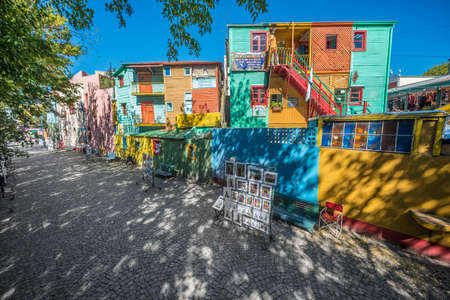 Colorful houses at Caminito street in La Boca, Buenos Aires, Argentina Editorial