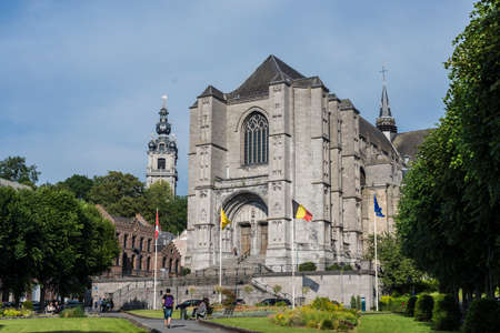 walloon: MONS, BELGIUM - JUNE 13, 2014: The Sainte-Waudru Collegiate Church is one of the most characteristic churches and most homogeneous of Brabantine Gothic architecture located in Mons, Belgium
