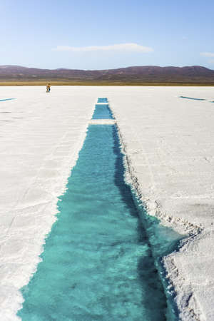 Salt water pool on the Salinas Grandes salt flats in Jujuy province, northern Argentina. Stock Photo