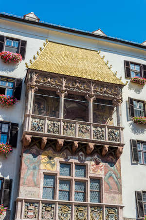 The Goldenes Dachl (Golden Roof), completed in 1500 with 2,738 fire-gilded copper tiles for Emperor Maximilian I to mark his wedding to Bianca Maria Sforza in Innsbruck, Austria. Editorial