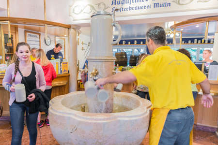 SALZBURG, AUSTRIA - JULY 31, 2014: The Augustiner Brewery at Mulln, Salzburg, Austria was founded by Augustinian monks in 1621, called to Salzburg from Bavaria by the Archbishop of Salzburg. 에디토리얼