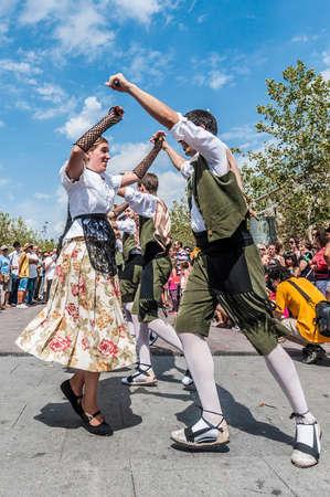 VILAFRANCA DEL PENEDES, SPAIN - AUG 29: Ball Pla dance on Cercavila performance within the Festa Major celebrations Aug 29, 2012 in Vilafranca del Penedes, Spain. Editorial