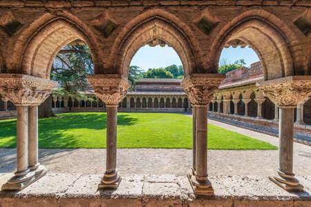 Saint Pierre Abbey cloister in Moissac, Castelsarrasin, Tarn-et-Garonne, Midi-Pyrenees, France Editorial