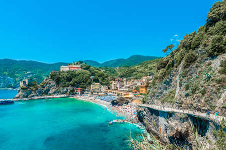 MONTEROSSO, IT - JUNE 26, 2016: Monterosso village within Cinque Terre in Liguria Region, Northern Italy.