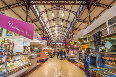 NARBONNE, FRANCE - FEBRUARY 13, 2016: Les Halles Market in Narbonne, Languedoc-Roussillon-Midi-Pyrenees, France Editorial