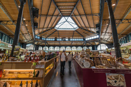 ALBI, FRANCE - JUNE 06 2015: Covered food market in Albi, Tarn region, Midi Pyrenees, France Editorial