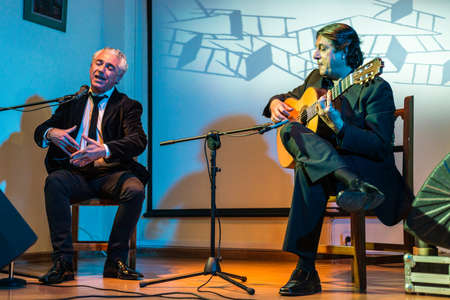 GRANADA, SPAIN - NOVEMBER 27, 2015: Flamenco show with Segundo Falcon and Miguel Ochando in the city of Granada, Andalucia, Spain