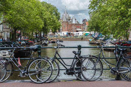 AMSTERDAM, NETHERLANDS – JUNE 15, 2013: Nieuwmarkt (New market) building in one of Amsterdam s oldest districts.