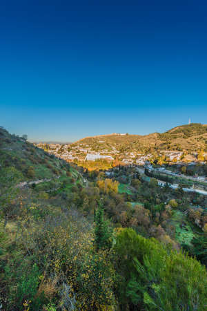 Sacromonte views at sunrise from Avellano Road in the city of Granada, Andalusia, Spain. Stockfoto