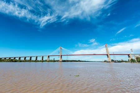 The Zarate Brazo Largo Bridges are two cable-stayed road and railway bridges in Argentina, crossing the Parana River between the cities of Zarate, Buenos Aires, and Brazo Largo, Entre Rios. Stok Fotoğraf