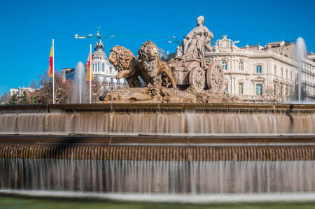 The fountain of Cibeles, named after Cybele (or Ceres), Roman goddess of fertility, is seen as one of Madrid s most important symbols in Spain. Stock Photo