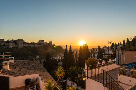 View at dusk of the Alhambra from the Sacromonte in the city of Granada, Andalusia, Spain. Stock Photo